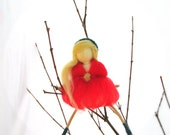 Red Fairy, Waldorf inspired,Christmas Fairy Ornament.