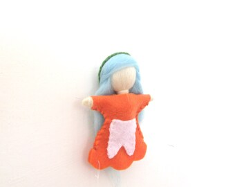ToothFairy Personalized,Tooth Fairy, Girl tooth fairy,Orange fairy,Felt Fairy