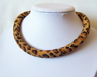 Leopard necklace - Bead Crochet African safari necklace - Animal skin necklace - Beadwork Jewelry - modern necklace - leopard skin necklace