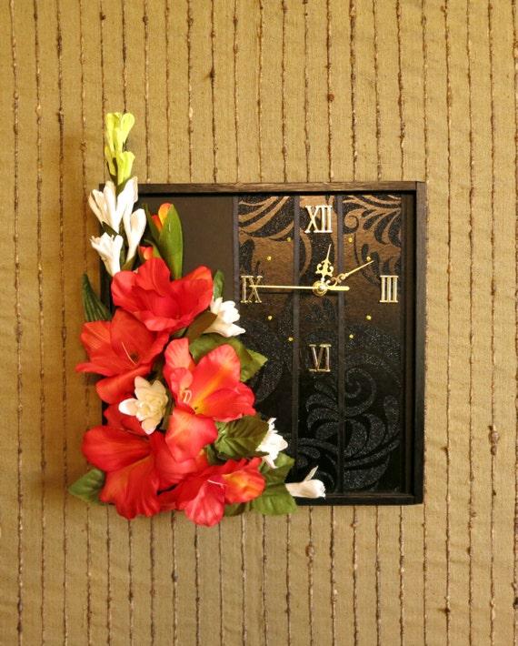 Wall Clock, Modern Contemporary Wall Art, Unique Wall Decor, Womens Gift Black Orange Artificial Flowers OOAK, Housewarming Birthday Gift