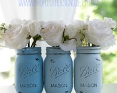 Painted Distressed Mason Jars - Blue, Baby Blue, Beachy Blue - Wedding Centerpieces, Baby and Bridal Showers, Vases, Home Decor