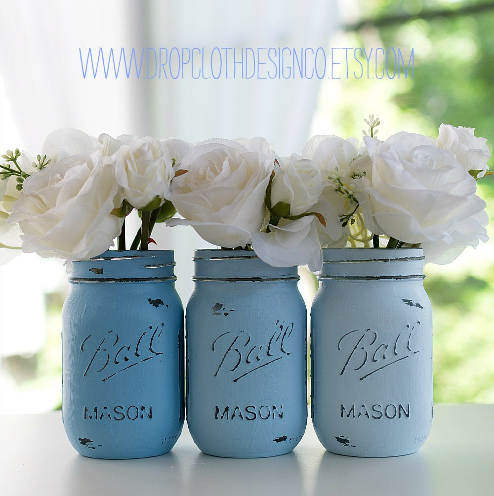 Mason Jar Painted  Distressed Ombre Pink by dropclothdesignco