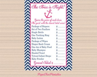 Digital Price is Right Game, Pink and Navy, Nautical Baby Shower A127