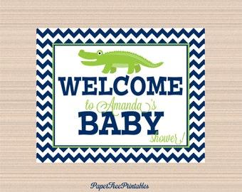 Digital Welcome Sign, Alligator Baby Shower