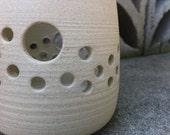 Raw clay pierced candle votive