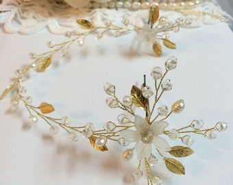 Wedding hair pins, Wedding headpiece, Wedding hair accessories, Gold hair pins, Gold headpiece, Bridal hair pins, Bridal hair accessories