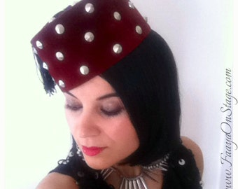 Original studded TARBOUCHE FEZ Hat - studded Hat