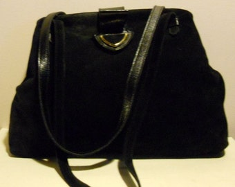 Gorgeous Italian vintage black suède leather tote bag, Colibri, Italy.; vg condition