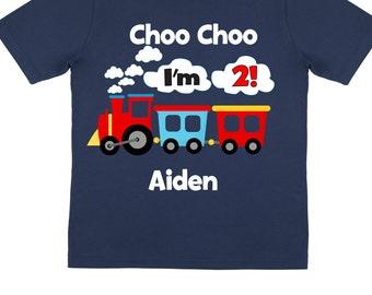 Choo Choo 2nd Birthday Shirts and Tshirts Navy Blue Tees