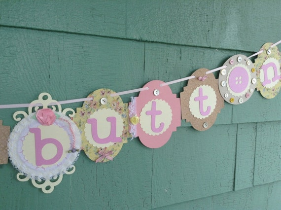Cute as a button banner baby shower decoration pastel or neutral colors boy or girl
