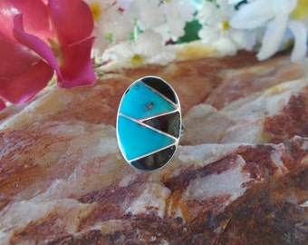 Native American Sterling SIlver Turquoise Onyx Band Ring Size 7 1/2
