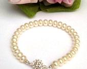 Ivory dainty freshwater button freshwater pearl single strand bracelet with Sterling silver flower filagree box clasp