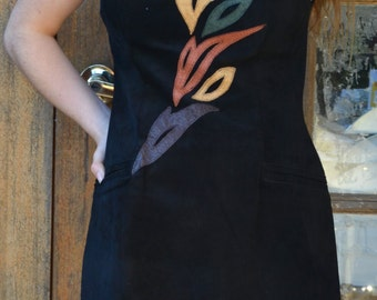 Rocker 90's Flaming black suede vintage dress with emu leather details