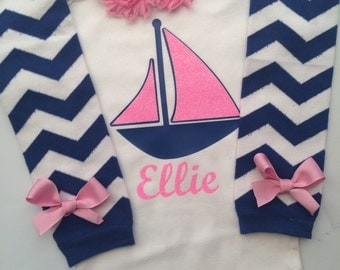 Baby Girl Sailing Outfit - Boating outfit - Baby girl clothes- infant girl sail boat- personalized baby - newborn girl sailboat -