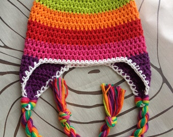 Crochet Rainbow Striped Hat with ear flaps and twisted braids, adult, child, baby