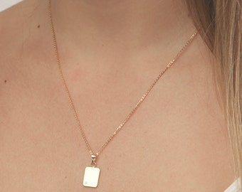 Vertical gold bar necklace dainty small layering necklace minimal gold square pendant delicate plate gold filled jewelry.