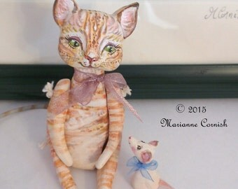 Miniature Cat and Mouse Love Art Dolls - Made to order.