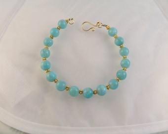 "Amazonite bracelet gold filled with vermeil 7 3/4"" MLMR gemstone handmade item 771"