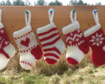 Mini Christmas Stockings Hand Knitted Set of 5 Christmas Gift Christmas Decoration Stocking Ornament