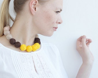 textile necklace handmade thread cotton for women textile beads natural pastel yellow summer