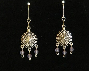 Sterling silver drop earrings with pale purple beads