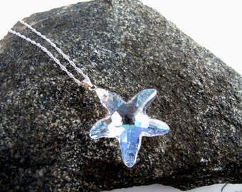 Clear Starfish Necklace, Sparkling Swarovski Crystal Starfish Pendant in clear tone mounted on a sterling silver 925 bail and chain