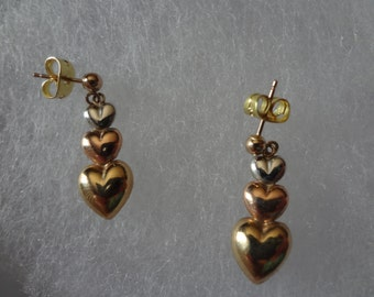 10k White Gold Yellow Gold Rose Gold Triple Heart Earrings Pierced Post Stud Dangle Gift Birthday Anniversary Gift Love Bride Groom