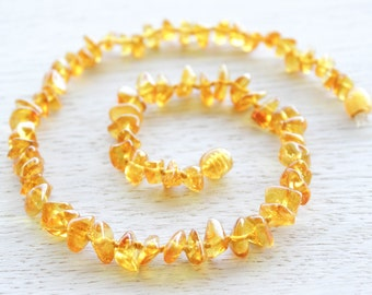 Lemon Baltic Amber teething necklace for baby
