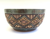 Hand Carved  Bowl - Stoneware - Sage Green, Brown, Tan - Serving, Cereal, Salad - Textured, Unique, Original, 2.5 cups