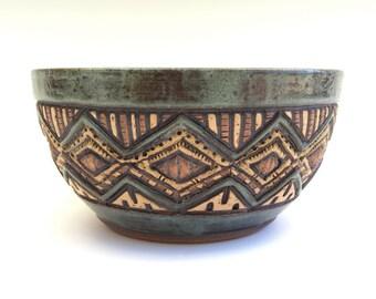 Hand Carved  Bowl - Stoneware - Sage Green, Brown, Tan - Serving, Cereal, Salad - Textured, Unique, Original, 2.5 cups