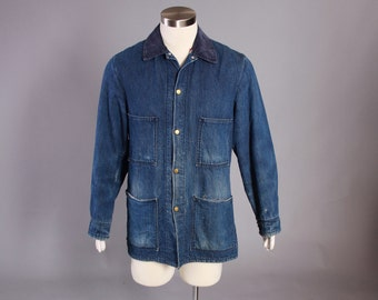 60s CARTER'S Blanket Lined JEAN JACKET / 1960s Barn Chore Selvedge Coat Sz 42