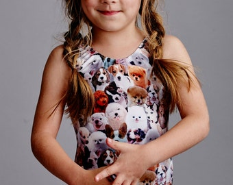 LIL'PUPPY: Girls tank bathing suit