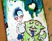 Punk and Pet Monster 4x6 painting
