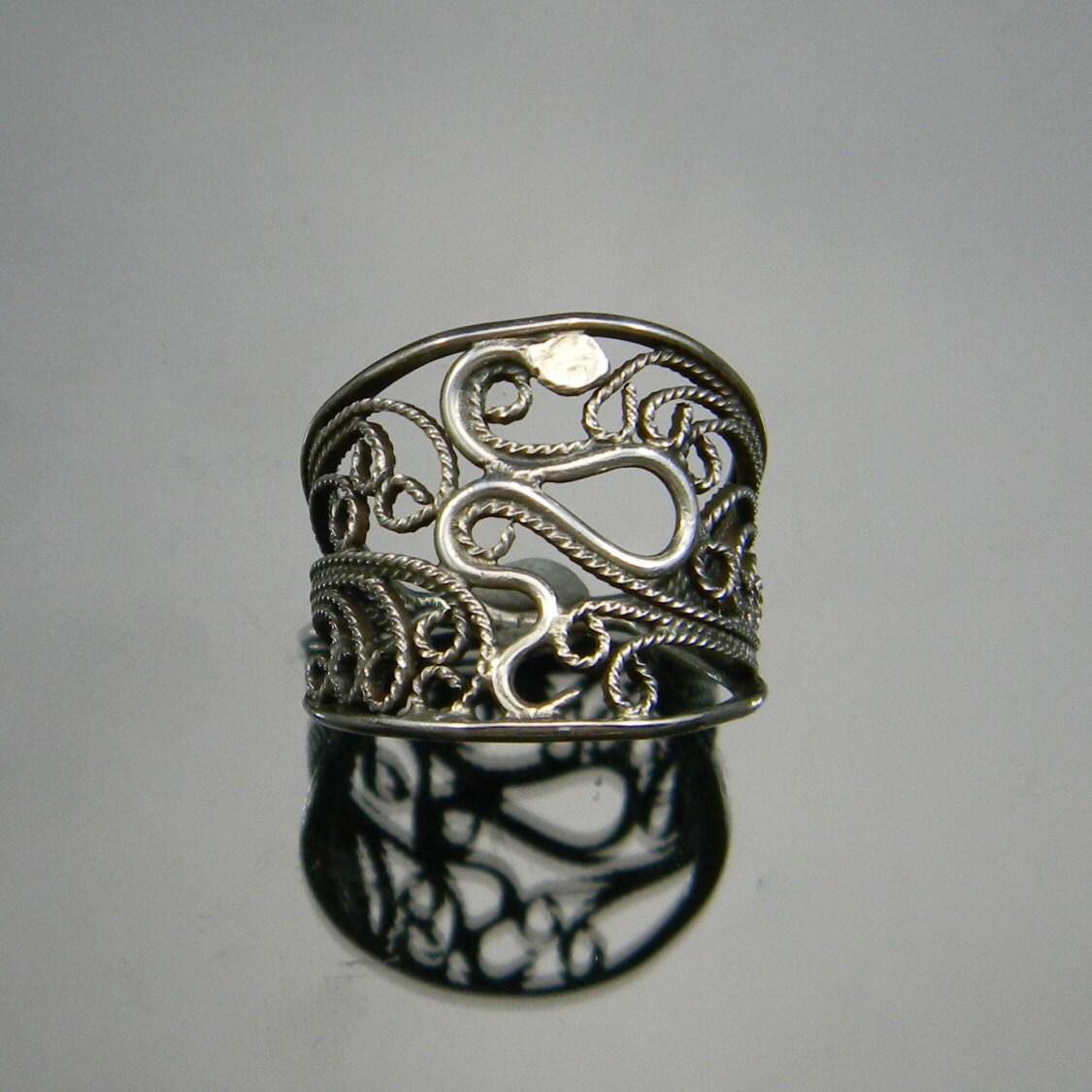 snake ring silver filigree filigree ring cigar band rings. Black Bedroom Furniture Sets. Home Design Ideas