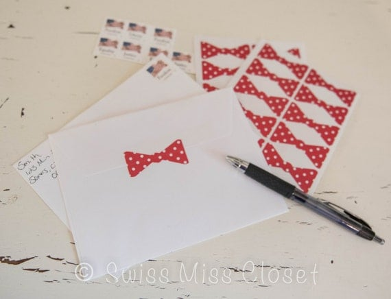 25 2 inch Polka Dot Red Bow Tie Stickers, Envelope Seals, Party Favors, Party Glasses, Unlimited Possiblities