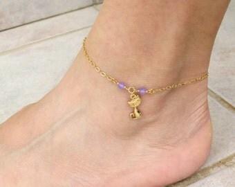Purple jade anklet, Cat lover gift, Cat charm bracelet