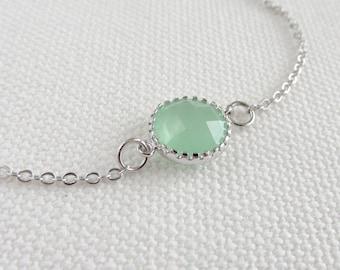 Mint Green Bracelet, Silver Rhodium Glass Crystal Stone, Dainty Jewelry, Minimalist, Bridal Crystal