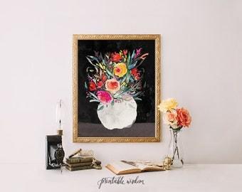 Printable Wisdom Still Life Art print, wall art, wall decor, printable art, still life print, floral print, floral painting print, flowers