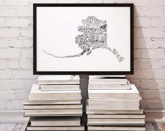State of Alaska Typography Print; Wall Decor; Christmas Gift; Wall Art; Wedding Anniversary Engagement Graduation Gift Decor