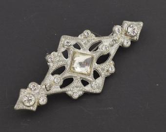 "Art Deco 1930s Rhinestone Brooch Pin 2 1/8"" wide ~ Lot 9419"