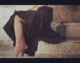 Side pull up long skirt, gypsie skirt, Dance skirt, Flamenco skirt, dane skirt, summer skirt, frill long skirt.