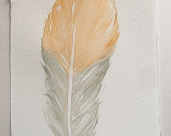 Yellow grey feather. Watercolor feathers paintings. Art original. Small feathers 7,5 by 11 inches. Home decor