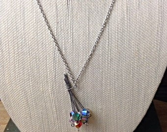 Handmade Flower Bouquet Pendant Necklace on silver-colored chain