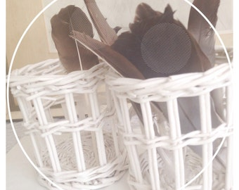 Wicker kitchen storrage- set 2 buskets- bathroom storage- white beauty pencil and brush holders- for the beach home- for bathroom toy duck
