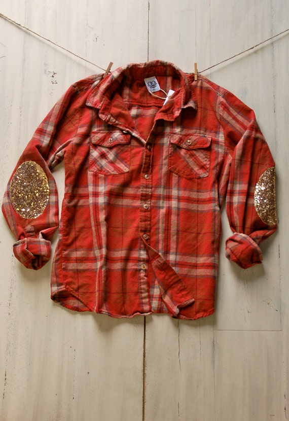 Hipster flannel shirt with sequin elbow patch 90s by for Mens flannel shirt with elbow patches