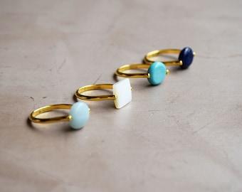 Ring Ardeko support brass stone