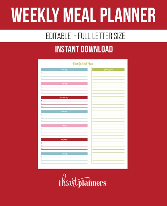 Weekly Meal Plan Printable Editable Instant Download with