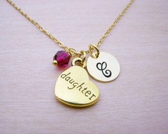 Daughter Necklace - Gold Initial Necklace - Birthstone Necklace - Gold Initial Disc Necklace - Personalized Necklace Initial Charm Necklace