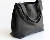 SALE \ Charcoal grey leather bag - Soft leather bag - OverSize Bag - Women handbag /  Tami bag
