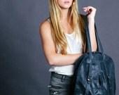 Charcoal Grey Leather Tote Bag - Leather BackPack for women - Laptop Backpack - Elegant Gray leather Handbag